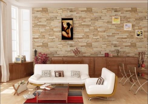 Papel de parede imitando tijolinho
